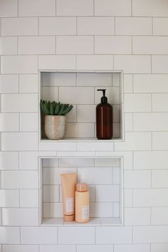 Shampoo Niches from subway tile.