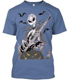 Have A Rockin Halloween Denim Blue T-Shirt Front