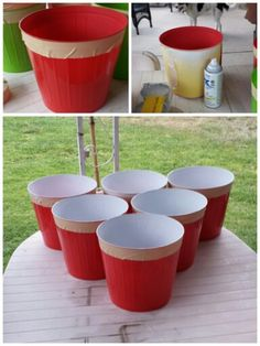 Beer pong...volley pong...homemade for $20.  Red plastic trash cans available at dollar tree for summer. Wrap some masking tape around edge, cover outside with paper to prevent over spray and spray paint the inside white! Fill with water to weigh down and enjoy some outdoor summer time fun. We purchased a large white ball from Walmart to use as the ping pong ball.