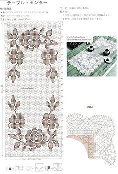 e-crochet: Πετσετάκι με τριαντάφυλλα - Lacet Stitch