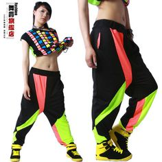 New fashion Brand Harem Hip Hop Dance Pants Sweatpants Costumes female stage performance wear harem Neon jazz sports trousers