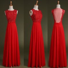 Custom Made A Line Round Neck Floor Length Red Lace Prom Dresses , Prom Gowns, Evening Dresses , Che on Luulla