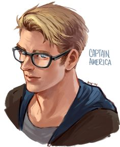 """wishfulpotato: """" so i finally watched winter soldier yesterday… cap/chris evans with glasses is too cute u __ u """""""