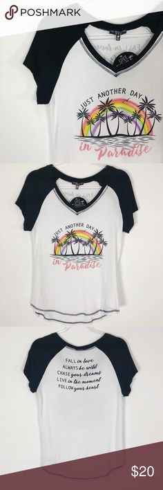 """LOVE PEACE & LAZY DAYS Graphic Tee LOVE PEACE & LAZY DAYS Graphic Tee - """"Just Another Day in Paradise""""  These tees are super comfortable, chic, and have that hippie BoHo style meets modern ever day girl!! Also gotta love their words to live by! (see back pic) 🌟🌟 Love Peace & Lazy Days Tops Tees - Short Sleeve"""