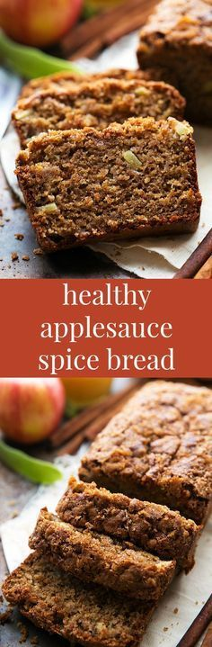 Healthier Applesauce spice bread - whole wheat with tons of healthier ingredient swaps ingredient desserts banana bread) Apple Recipes, Pumpkin Recipes, Baking Recipes, Dessert Recipes, Breakfast Bread Recipes, Savory Breakfast, Crumpets, Applesauce Bread, Applesauce Recipes