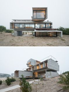 Industrial House design - Here are 13 examples of modern concrete houses that show how concrete can be used in a number of different ways to create a number of different looks Container House Plans, Container House Design, Design Exterior, Exterior House Colors, Casas Containers, Concrete Houses, Concrete Wall, Industrial House, Industrial Farmhouse