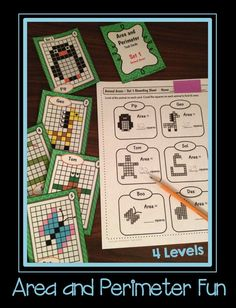 4 Levels - from Beginners to Advanced.          Level 1 - Animal Areas (counting squares).   Level 2 - Perimeter Puzzles (counting).        Level 3 - Rectangle Roundup (area/perim. of rectangles, applying formula).                       Level 4 - Challenge!  48 total cards.