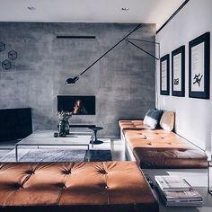 Concrete feature wall, white surrounding walls
