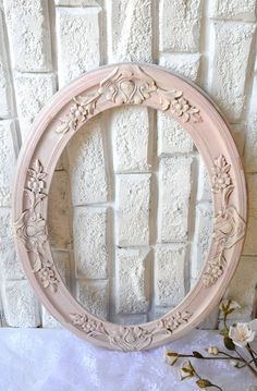 Large Shabby Pink Frame Ornate Wooden Distressed Accent by YWart