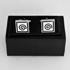 Black & White Koru Cufflinks Flip Clock, New Zealand, Cufflinks, Objects, Black And White, My Love, Blanco Y Negro, Black N White