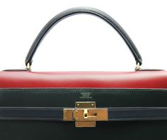 Vintage rare three color Hermès Kelly 32 in dark green, deep blue and burgundy Box Leather. 1988.
