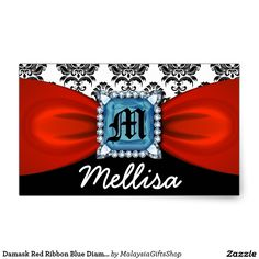 Damask Red Ribbon Blue Diamond Monogram And Name Rectangular Sticker