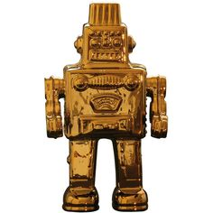 Limited Gold Edition Robot design by Seletti ($138) ❤ liked on Polyvore featuring home, home decor, curios, gold office accessories and seletti