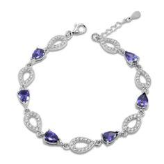 Genuine Silver Infinity Bracelet With Amethyst and Cubic Zirconia Amethyst Bracelet, Pandora Charms, Sapphire, Bling, Jewels, Sterling Silver, Stone, Diamond, Bracelets