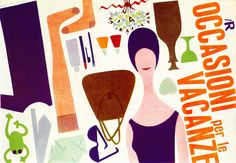 Lora Lamm Ilustration 4  Poster to promote the sale of holiday goods from La Rinascente. From Graphis 90 1960.