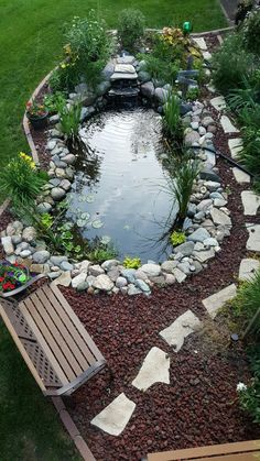Small Backyard Ponds, Backyard Water Feature, Garden Pond Design, Garden Yard Ideas, House Landscape, Landscape Design, Small Backyard Landscaping, Dream Garden, Garden Planning