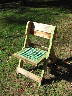 This is my favorite chair made from a recycled pallet. I love that it folds, and I love the webbed seat - more comfortable than flat wood.