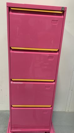 We have just upcycled our old filing cabinet to a bold eye catching pink gloss finish, we can do the same for you. Filing Cabinet, Bespoke, Upcycle, Dresser, Eye, Pink, Furniture, Home Decor, Taylormade