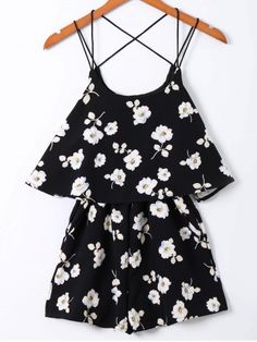 SHARE & Get it FREE | Fashionable Floral Print Spaghetti Strap Romper For…