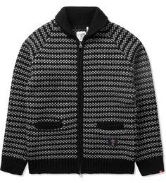 "Black ""Jaco"" Shawl Collar Cowichan Sweater"