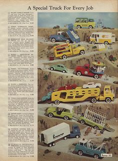 Toy Trucks in J. Penney's Christmas Catalog, by Wishbook Retro Advertising, Vintage Advertisements, Vintage Ads, Vintage Posters, Retro Toys, 1950s Toys, Retro Games, Tonka Toys, Matchbox Cars