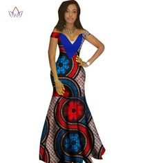 African Women Dashiki Print Bazin V-Neck Long Dress Remilekun - African Styles for Ladies African Dresses For Women, African Wear, African Attire, African Fashion Dresses, African Women, African Style, African Outfits, Ghanaian Fashion, African Design