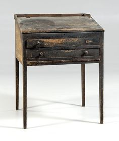 Georgia painted plantation desk, poplar with yellow pine secondary, slant lid… Country Furniture, Old Desks, Primitive Decorating, Early American Furniture, Southern Furniture, Furniture, Kids Furniture Girls, Black Furniture, American Furniture