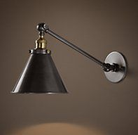 20Th C. Library Single Sconce Aged Steel ***Office shelves cut arm, replace backplate