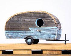 Rustic Vintage 50s/60s Travel Trailer Bird House LightBlue #101