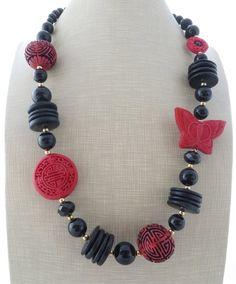Red cinnabar necklace, chunky necklace, black onyx necklace, big bold necklace, beaded necklace, oriental necklace, gemstone jewelry by Sofiasbijoux on Etsy
