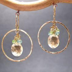Bohemian 113 Hammered hoops apatite, peridot, and crystal quartz