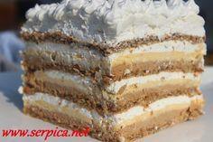 Slika torte sa milka cokoladom sa cetiri kore – Jelena D – macedonian food Polish Desserts, Cookie Desserts, Sweet Desserts, Sweet Recipes, Torte Recepti, Kolaci I Torte, Baking Recipes, Cake Recipes, Dessert Recipes