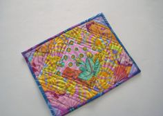 Quilted Mug Rug Snack Mat Coaster Placemat 94 by PeppersAttic, $12.00