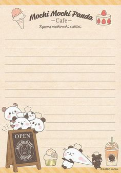 "Kamio ""Mochi Mochi Panda"" Memo w/ Pencil Board Printable Scrapbook Paper, Printable Stickers, Printable Paper, Cute Stickers, Free Printable Stationery, Cute Stationery, Stationery Paper, Stationary, Memo Notepad"