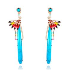 Turquoise icicles add a colourful pop to these Peace Pipe earrings by Lydia Courteille, which also feature white diamonds and painted enamel/Rainbow Warrior collection