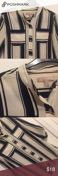 Banana Republic Navy and Cream Striped Blouse Banana Republic, long roll to button sleeve blouse. Double breast pockets, 100% polyester. Silver buttons, hardly worn. Machine washable. Banana Republic Tops Blouses