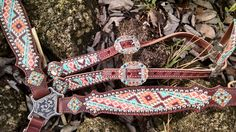 Wilsons Leather Co Aztec Print Leather Breast Collar Hand Made On Top Quality Herman Oak Leather All Hardware Is Stainless Steel Genuine Swarovski Crystal Western Horse Tack, My Horse, Horse Gear, Western Saddles, Horse Tips, Horse Saddles, Rodeo Cowgirl, Horse Halters, Gypsy Cowgirl