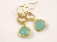Gold Mint Green and Soft Peach Earrings Mint and Coral Wedding Ideas Mint Green Wedding Green Bridesmaid Earrings Maid of Honor Gift