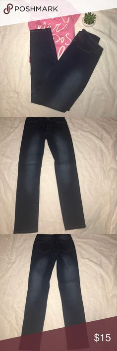 """Nwot rue 21 jeans NWOT dark with some white wash stain rue 21 jeans size 3/4 waist is 28"""" inseam is 30"""" they are stretchy make me an offer or bundle! Rue 21 Jeans Straight Leg"""