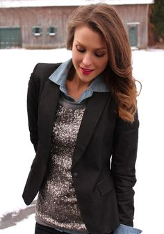 Winter Look — Sequin tank over chambray with blazer and riding boots