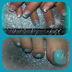 tiffany blue nails & toes by cagrachek - Nail Art Gallery nailartgallery.nailsmag.com by Nails Magazine www.nailsmag.com #nailart