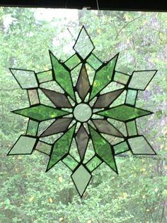 Snow Flake Burst stained glass and bead window Suncatcher home decor