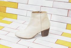 the coolest vegan shoe brand: Good Guys Don't Wear Leather I love these white fake suede ankle boots.