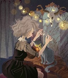 Find images and videos about cat, illustration and Halloween on We Heart It - the app to get lost in what you love. Halloween Illustration, Art And Illustration, Illustrations, Kunst Inspo, Art Inspo, Fantasy Kunst, Fantasy Art, Pretty Art, Cute Art