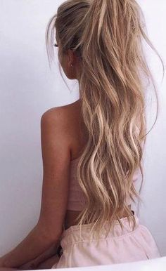rose pink. beautiful hair. #ponytail.