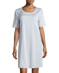 HANRO COTTON DELUXE SHORT-SLEEVE BIG SLEEPSHIRT fba064726