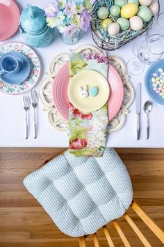 Pastel Easter Table Setting Featuring Our Ticking Stripe Aqua Dining Chair Cushion with Ties - Table Settings Bar Chairs, Dining Chairs, Dining Room, Ikea Chairs, High Chairs, Small Grey Bedroom, Hanging Chair From Ceiling, Easter Table Settings