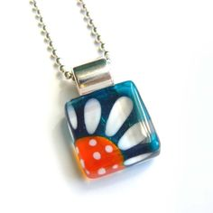 Teal and orange daisy pendant  hand painted glass  by azurine, $20.00