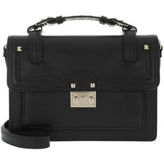 Valentino Handle Bag - High School Satchel Bag Black - in black -... (€1.920) ❤ liked on Polyvore featuring bags, handbags, black, leather satchel, satchel purses, satchel handbags, leather satchel handbags and quilted leather handbags