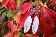 Lilac and White Dream Catcher Earrings by nZuriArtDesigns on Etsy